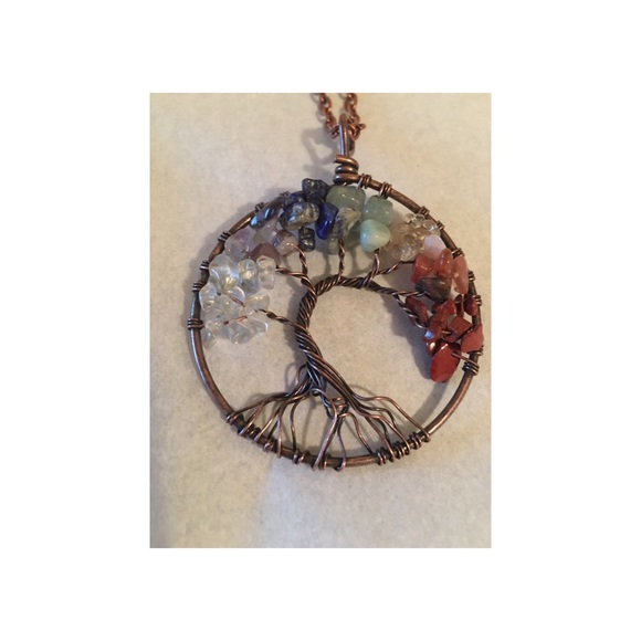 None Jewelry - 7 Chakra Healing Tree Of Life Pendent Copper